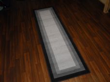 Modern Approx 7x2ft 60x220cm Woven Backed Black/Grey Quality Pannel rugs/runners